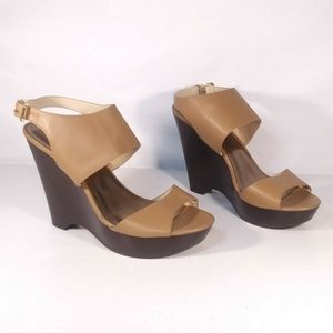 Nine West Wedge Heel Sandals Size 9.5 M Brown